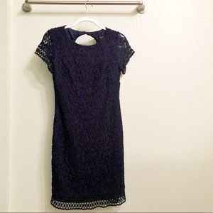 Navy Blue Laced Mini Dress